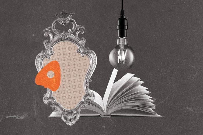 Planchette collaged with open book, antique mirror and lightbulb