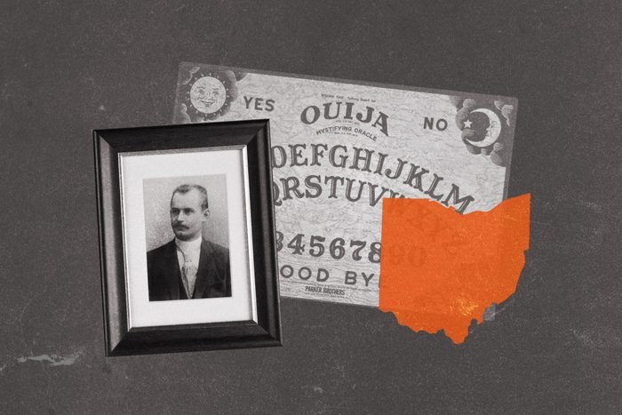 Ouija board collaged with state of Ohio and an antique portrait