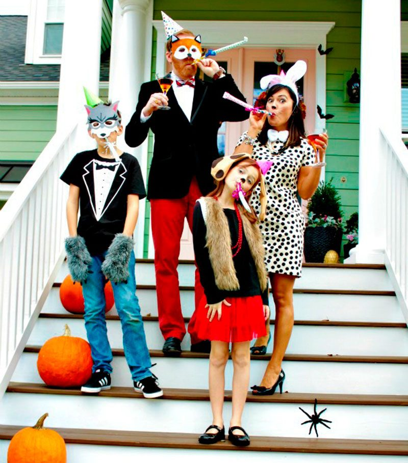 family dressed as party animals