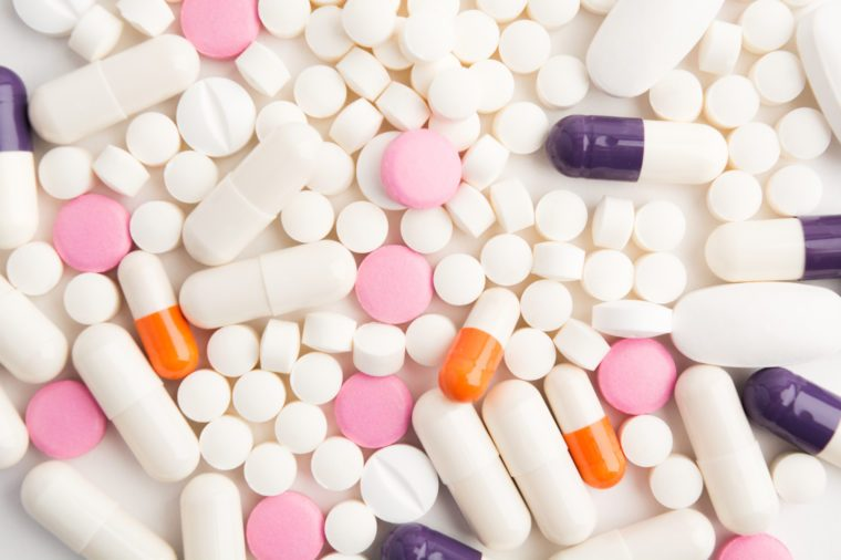 Various pills background with overhead view