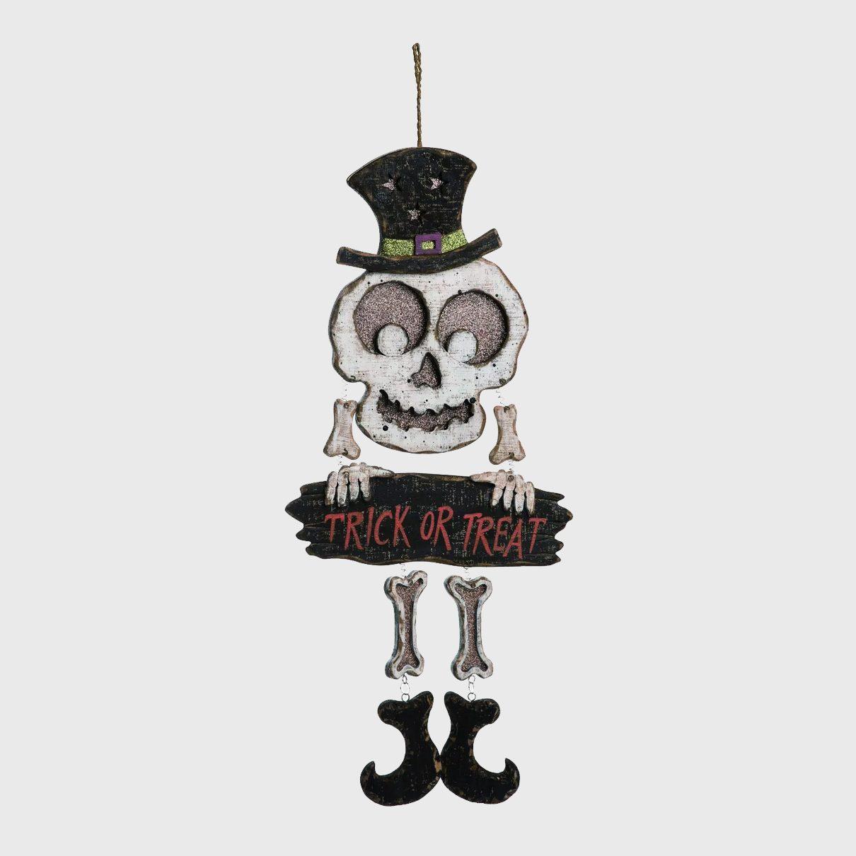 Trick or treat skeleton sign