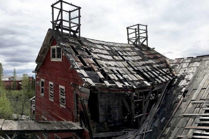 Ghost town debris of the Kennecott Copper Mine inside Wrangell-St Elias National Park.