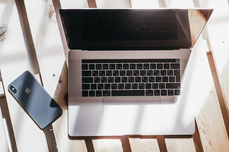 computer on wood