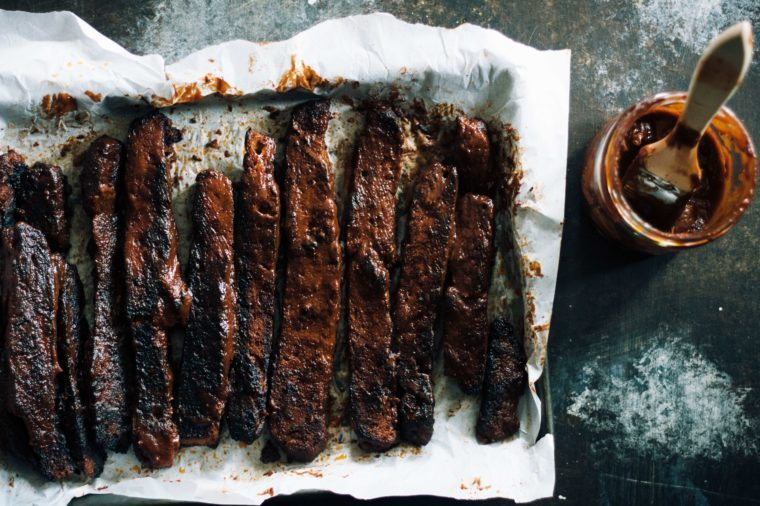 Vegan barbecue ribs in moody lighting. Vegan meat but can be used for vegan food and non vegan food