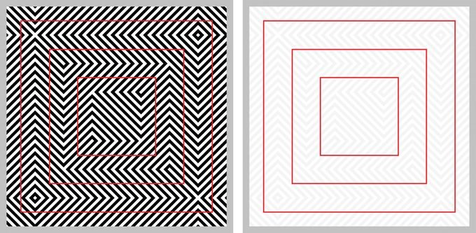 Optical illusion - red squares look distorted - with explanation on the right