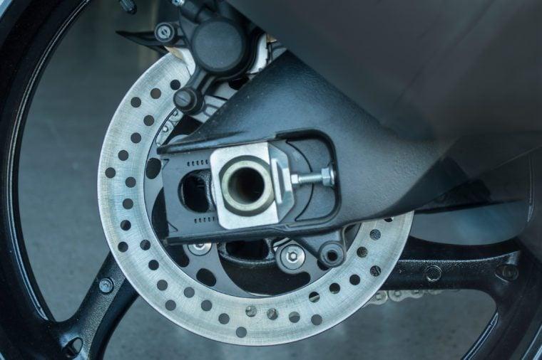 closeup of brake disks motorcycle