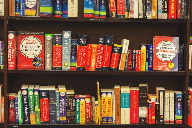 dictionaries on shelf