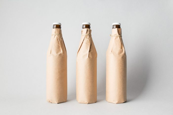 Three beer bottles on the scene, mock-up.