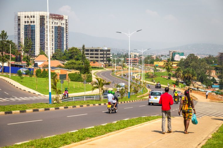 KIGALI, RWANDA - CIRCA FEBRUARY 2017: A view towards town and some university buildings in Kigali.
