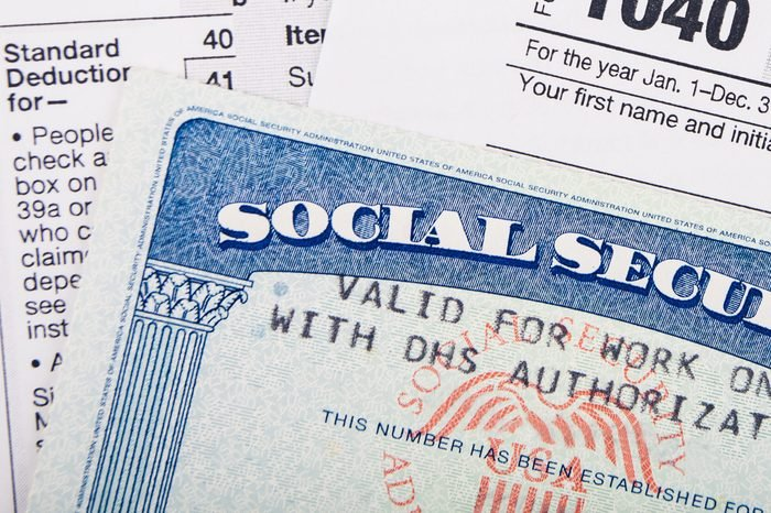 Tax return form and Social Security Number card
