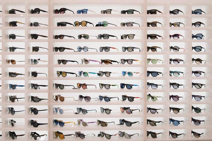 Sunglasses in a store