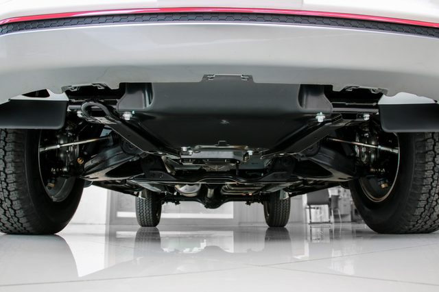 Bottom view of chassis and suspension car