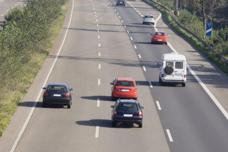 tailgating on a three-lane autobahn - oberhausen, germany