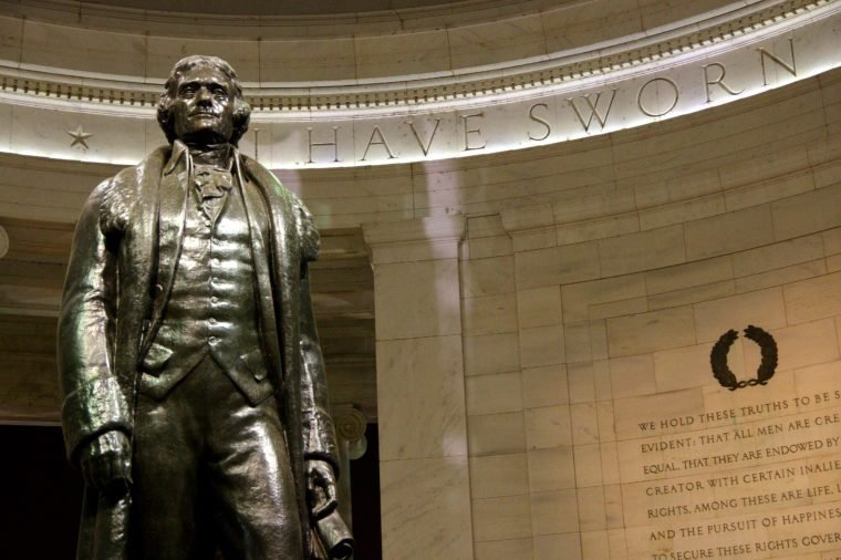Statue of Thomas Jefferson and the Declaration of Independence inscription at the Jefferson Memorial, Washington DC