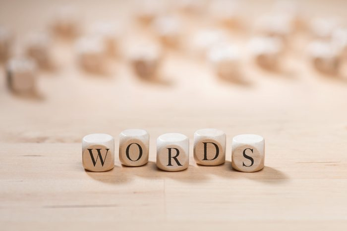 Words word on wooden cubes. Words concept