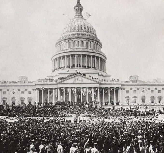 Crowd outside and atop the US Capitol for the inauguration of President Theodore Roosevelt. March 4, 1905. Photo by George V. Buck