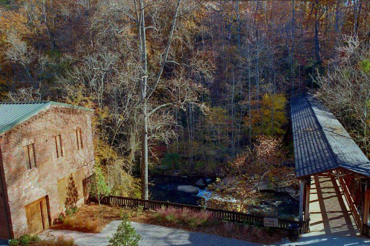 Covered Bridge over a stream