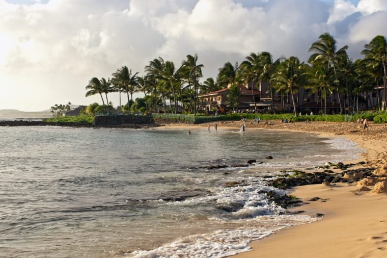 poipu beach park on the island of Kauai, Hawaii.