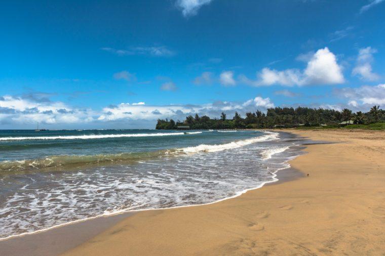 Sand beach along Hanalei Bay coast, Kauai, Hawaii