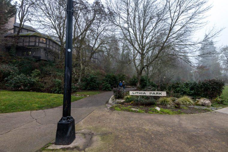 Entrance sign for Lithia Park in Ashland, Oregon, USA