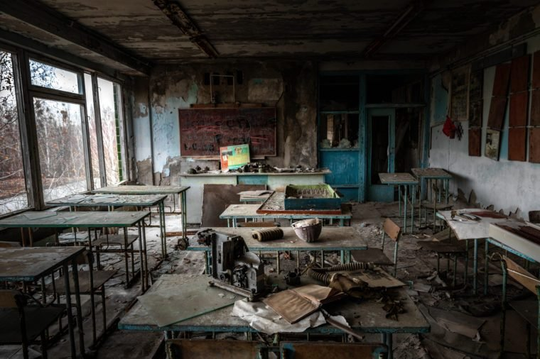 Abandoned Classroom in School number 5 of Pripyat, Chernobyl Exclusion Zone 2019