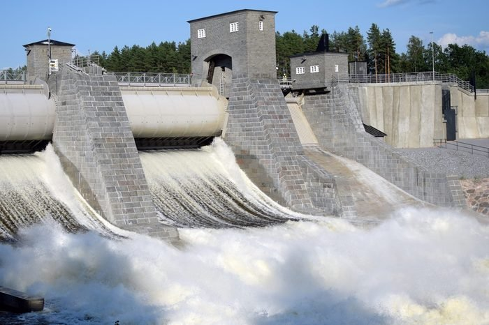 Imatra hydroelectric powerplant dam sluice open. Imatra rapid (Imatrankoski in Finnish) is famous tourist attraction and during the summer there are daily shows, when dam is opened.