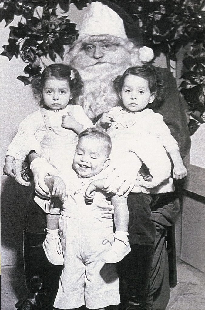 triplets with santa