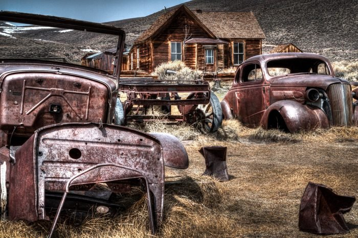 """Bodie, an original mining town from the late 1800's stands today in a state of """"arrested decay"""" maintained by the California State Parks Systen."""
