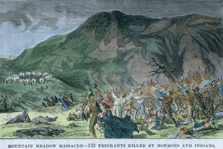 The Mountain Meadows Massacre The slaughter of an Arkansas wagon train by Mormon militia and a few local Indians on Sept 11, 1857, during the 'Utah War', 19th century engraving with modern watercolor.