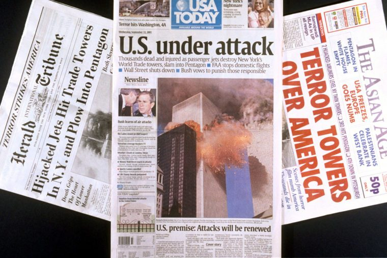 FRONT PAGE ENGLISH NEWSPAPER HEADLINES AFTER TERRORIST HIJACKING OF AIRCRAFT AND DESTRUCTION OF THE WORLD TRADE CENTRE IN NEW YORK-12 SEP 2001
