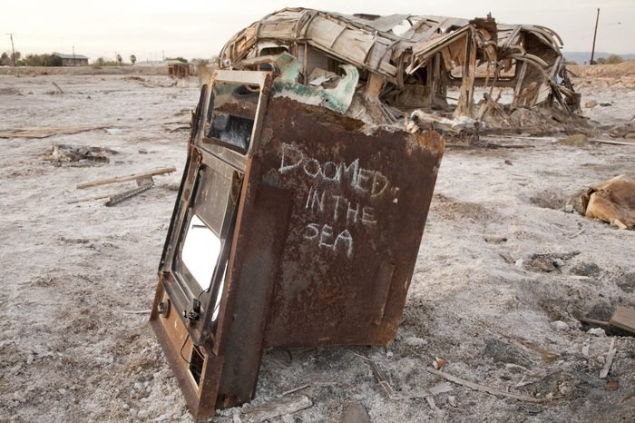 An old oven rots at the Salton Sea, CA. The Bombay Beach area was once a vibrant resort in the 1950s.