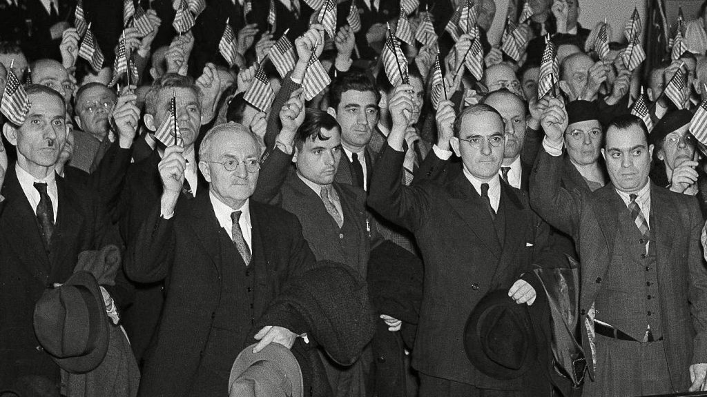 New citizens are sworn in at the U.S. District Court, in Philadelphia 12 Apr 1939