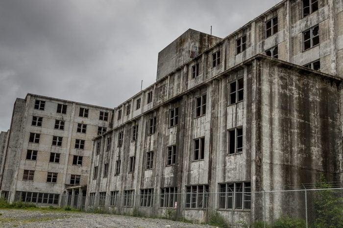 Abandoned Buckner Building in Whittier, Alaska, USA.