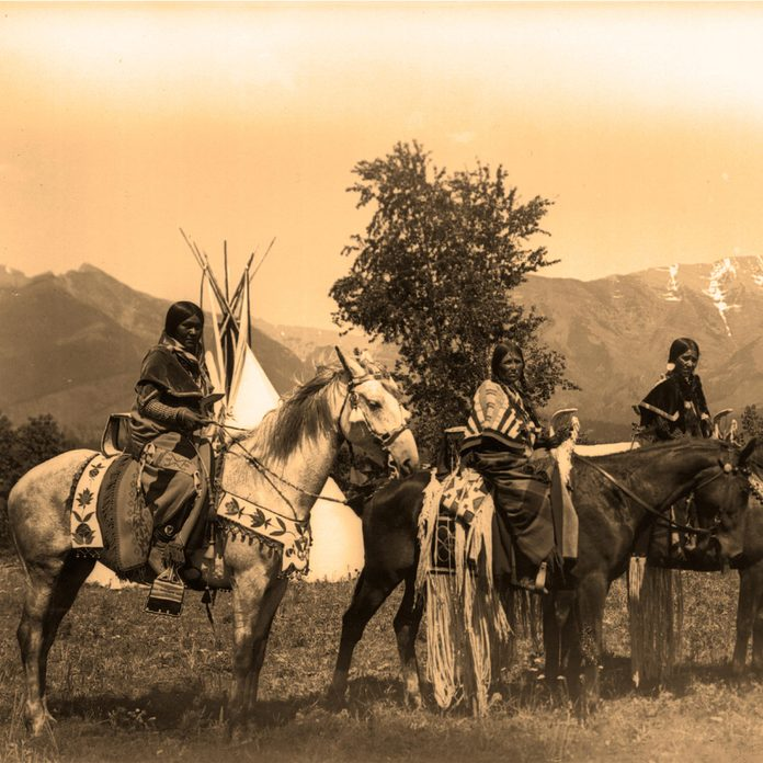 Shoshone Indian women c1895 with their horses decked out in an impressive display of beadwork.