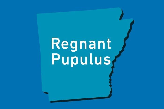 arkansas outline with motto text Regnant Pupulus
