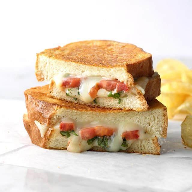 taste of home basil tomato grilled cheese
