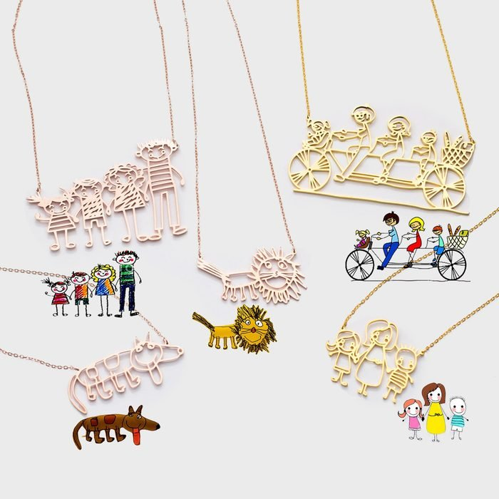 Caitlyn Minimalist Actual Kids Drawing Necklace