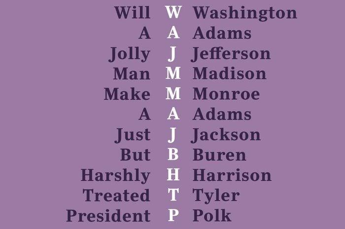 early presidents mnemonic device