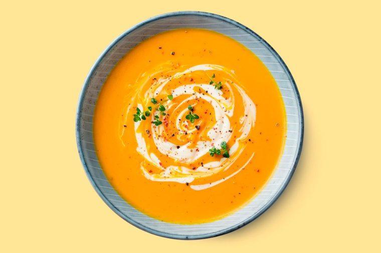 beautiful overhead bowl of butternut squash soup