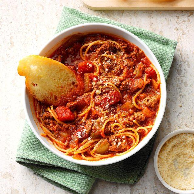 taste of home ground beef spagetti skillet