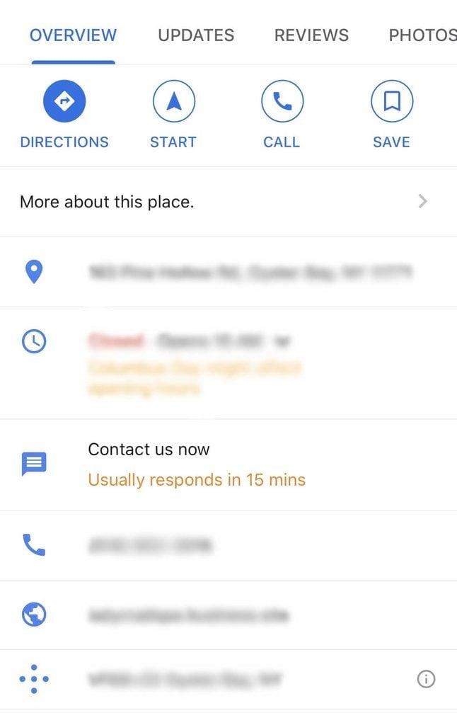 google maps contact