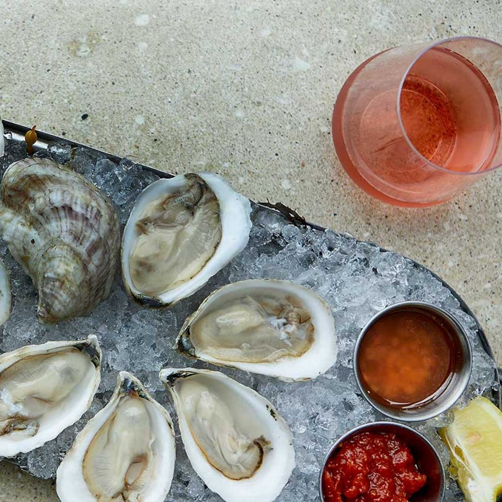 close up of oysters at Eventide Oyster Co in Portland Maine