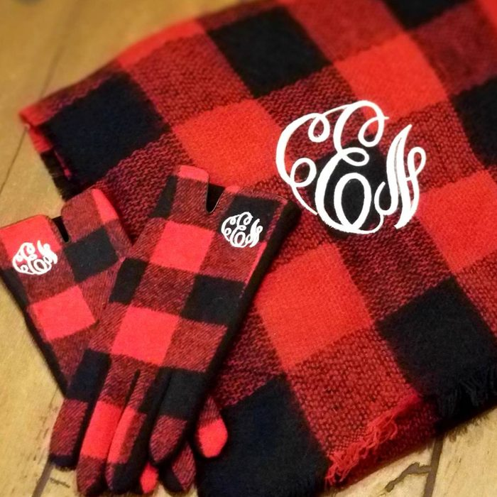 Marys Monogram And More Buffalo Plaid Scarf And Gloves Set