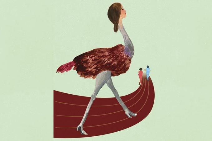 ostrich racing illustration by ellen weinstein