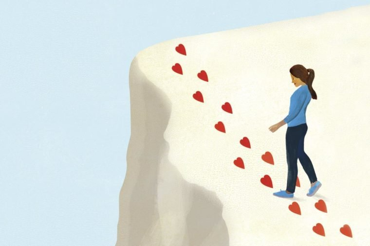 woman following passion off a cliff illustration by ellen weinstein