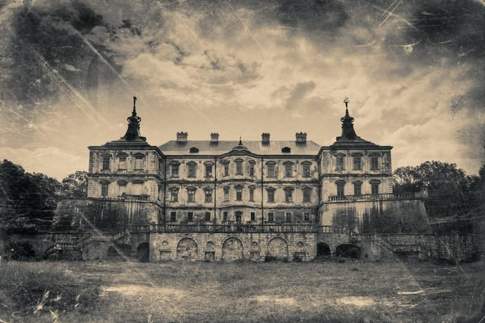 Pidhirtsi Castle, village Podgortsy, Renaissance Palace, Lviv region, Ukraine. Retro stylized photo in black and white colors