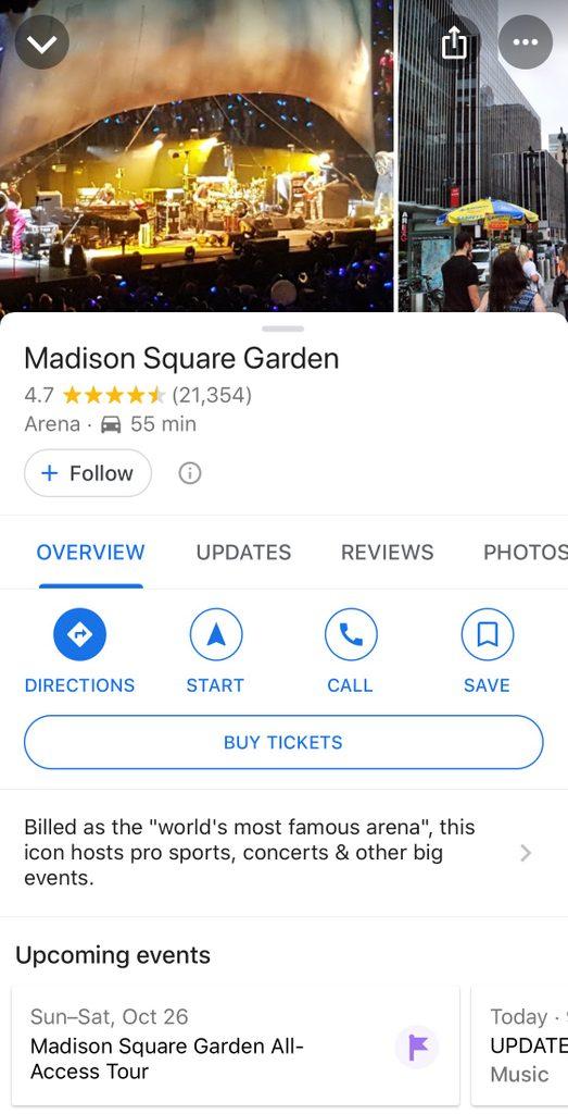 google maps buy tickets