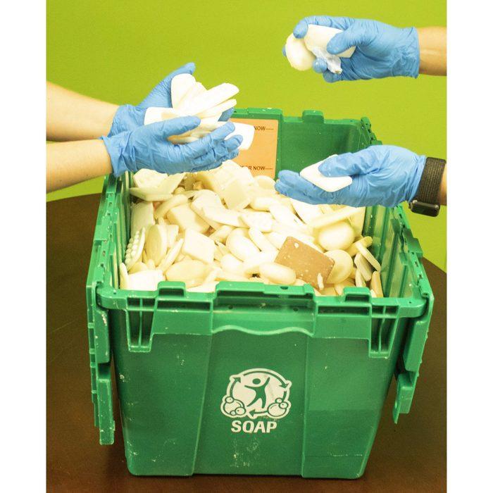 soap in bins