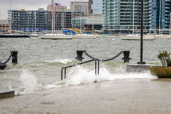 Storm waters lash Boston's inner harbor during a powerful March nor'easter