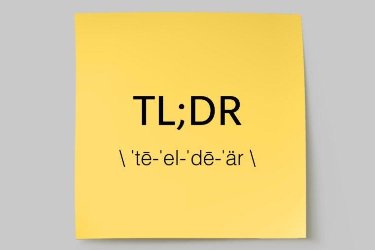 TL;DR sticky note